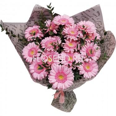 Букет из 15 розовых гербер